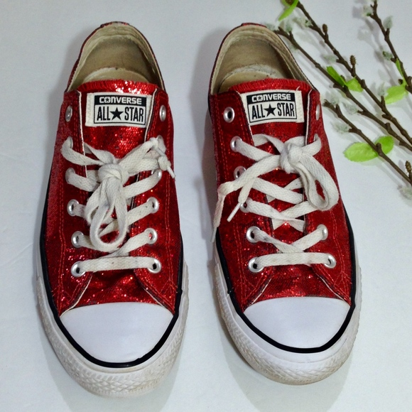 4e79a047f1dc2a Converse Shoes - Womens CONVERSE All Star Red Glitter Shoes Size 10